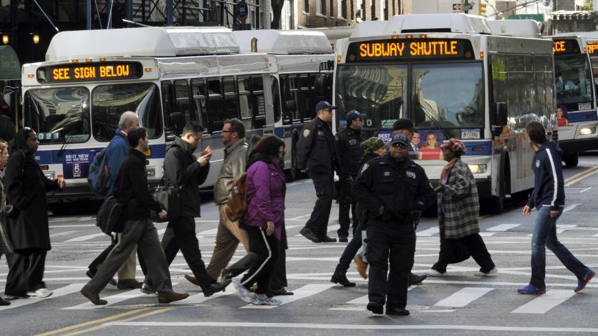 busses at pedestrian crosswalk